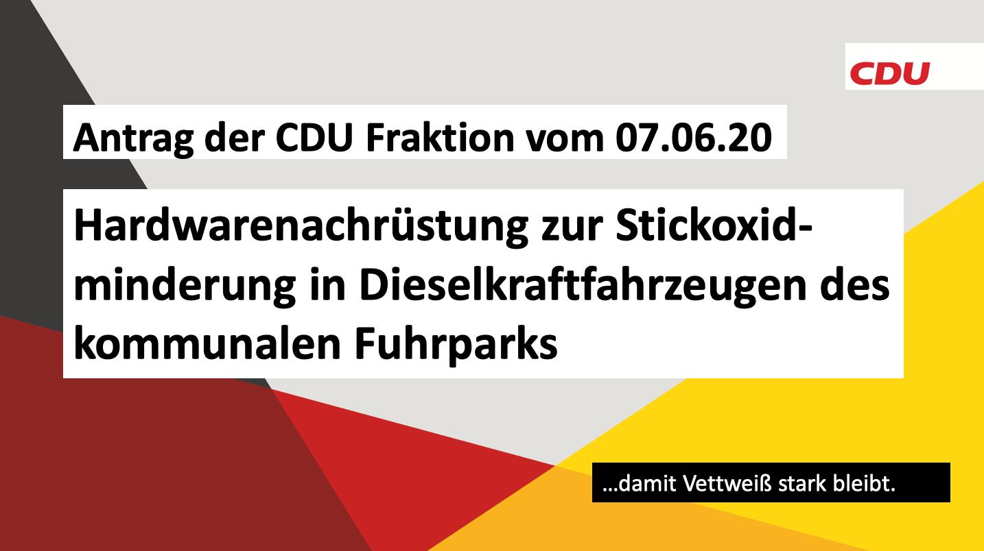 Antrag der CDU Fraktion vom 07.06.20