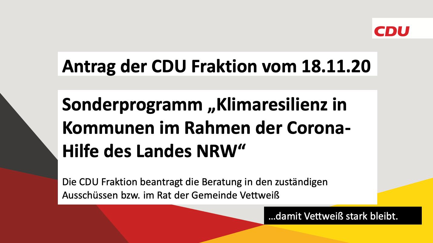Antrag der CDU Fraktion vom 18.11.20