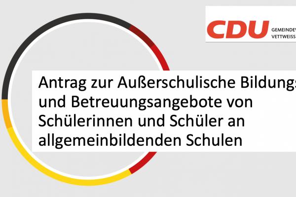 Antrag der CDU Fraktion vom 26.03.21